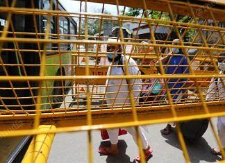 People suspected of coronavirus being transported to various hospitals after Tablighi Jamaat in Nizamuddin, Delhi   Photo: Suraj Singh Bisht   ThePrint