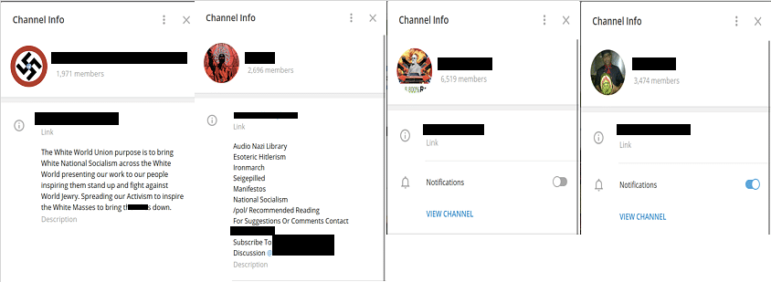 Channel info for some of the more prominent Neo-Nazi and White Supremacist channels. Note: for this and all subsequent images, the names have been purposefully obscured to avoid further dissemination of the content. (Source: Telegram)