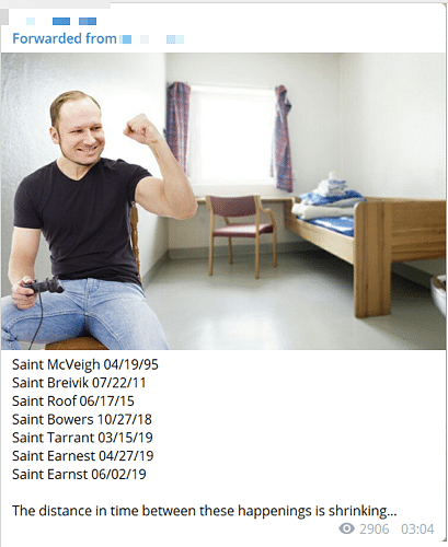 A post on the extremist channel amplifying an image of a jubilant Anders Breivik alongside a post noting the increasing frequency of terror attacks carried out by far-right terrorists. (Source: Telegram)