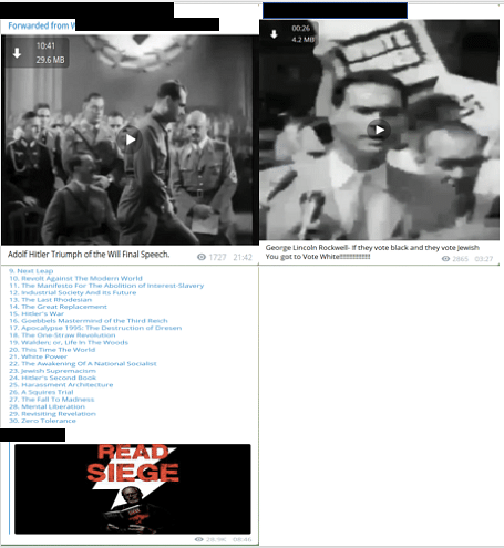 Top-left:Post amplifying a video recording of a speech by Adolf Hitler.Top-right:Post amplifying a quote and video recording of a speech by George Lincoln Rockwell, the founder of the American Nazi party.Bottom:Post providing an online cache of fascist and racist literature. (Source: Telegram)
