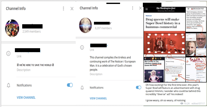 """Left: Channel info for two prominent anti-semitic channels, the former named after the chemical agent used as part of the genocide of Jewish prisoners housed in German concentration camps. The latter compiles a list """"exposing"""" people of Jewish descent. Right: Example of post on popular anti-Semitic channel deigning to """"reveal"""" the Jewish background of a trans activist. (Source: Telegram)"""