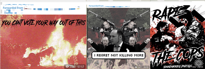 """Left:Example of content amplified on """"Terrorwave"""" channels, uploading slickly edited propaganda posters attempting to acts of violence aesthetically alluring.Center:Poster praising Anders Breivik, a Norwegian far right terrorist who killed 77 people in an attack in Oslo and Utoya Island in 2011.Right:Poster uploaded on the """"Terrorwave"""" channel amplifying content by Sonnenkreig division, a UK-based Neo-Naziterrorist group. (Source: Telegram)"""
