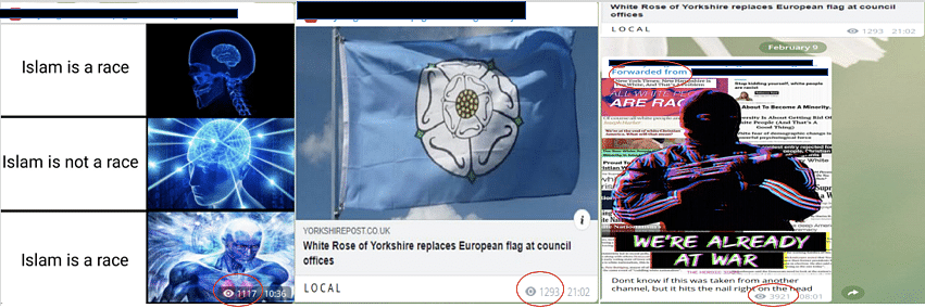 """Another example of cross-posting showing escalatory posting in another """"jokes and memes"""" group devoted to European chauvinism, as in the previous case, the cross-posted content receives a jump in views. (Source: Telegram)"""