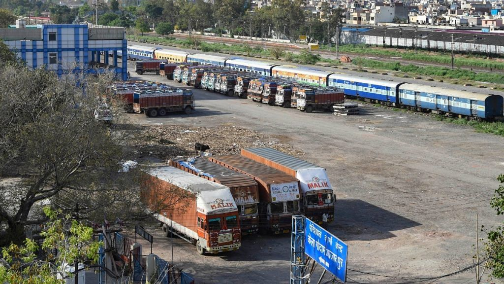 Trucks parked at a perishable cargo centre during the nationwide lockdown in the wake of coronavirus pandemic, at Azadpur in New Delhi, on April 1, 2020 | PTI