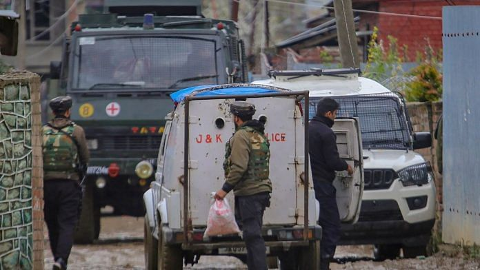 Security forces cordon off the area during an encounter with militants at Sopore, in Baramulla District of South Kashmir, Wednesday, April 8, 2020. A Jaish-e-Mohammad (JeM) terrorist commander was killed in the encounter | representational image | PTI