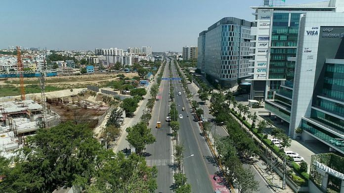 File photo | A view of the Outer Ring Road as shot with a drone camera during coronavirus lockdown, in Bengaluru, Saturday, 18 April | PTI