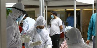 Medical workers collecting samples for COVID-19 at the centre set up for the mediapersons in New Delhi Thursday | Photo: Suraj Singh Bisht | ThePrint