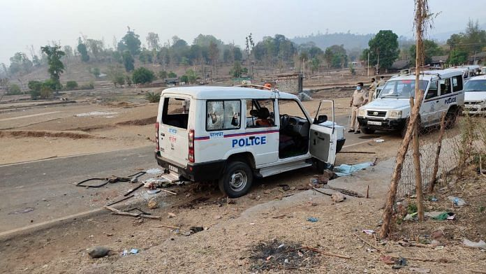 Police vehicles damaged by the mob at Gadchinchale village   By special arrangement