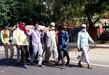 Muslim neighbours carry Rajendra Bagari's body to the cremation ground in Jaipur. | Photo: Praveen Jain/ThePrint
