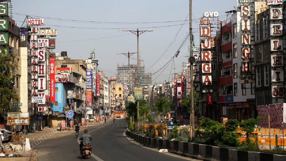 A deserted street in Paharganj during the nationwide lockdown | Photo: Suraj Singh Bisht | ThePrint