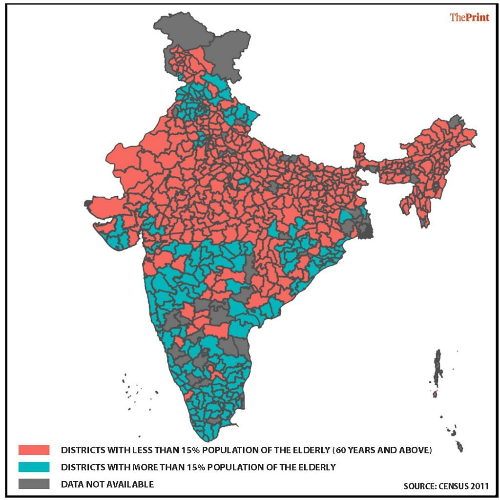 A map showing the districts where the population above 60 years of age is above or below 15 per cent | Graphic: Ila Patnaik/ThePrint Team