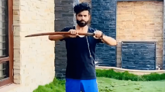 Ravindra Jadeja's sword celebration video
