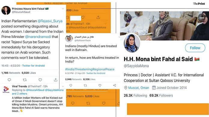 Screenshots of 'Arab' handles which allegedly run by Pakistanis, which are posting anti-India messages