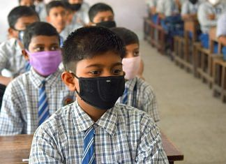 Representational Image | Students wearing masks in a classroom | Photo: Abhishek Saha/ANI