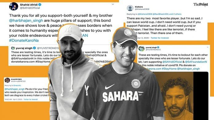 Yuvraj Singh and Harbhajan Singh have drawn ire from social media users for their call to support ex-Pakistan captain Shahid Afridi's foundation | Image: ThePrint Team