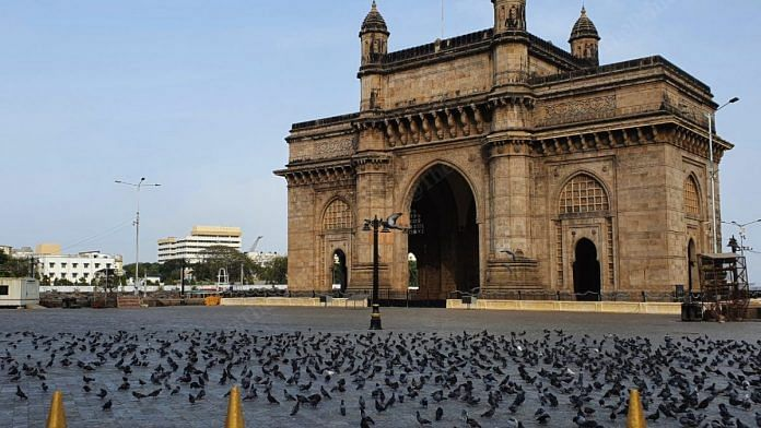 The Gateway of India, a popular tourist attraction lies deserted. Pigeons are the only visitors this monument has seen since the lockdown   Photo: Soniya Agarwal   ThePrint