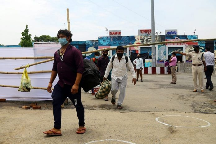 Migrant workers come out of the Danapur station (representational image)   Photo: Suraj Singh Bisht   ThePrint