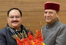Rajeev Bindal (right) was appointed Himachal Pradesh BJP president by the party's national president J.P. Nadda in January this year | Photo: ANI
