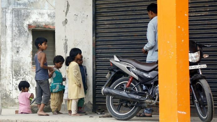 Children at a colony for urban poor in Gorakhpur | Suraj Singh Bisht | ThePrint