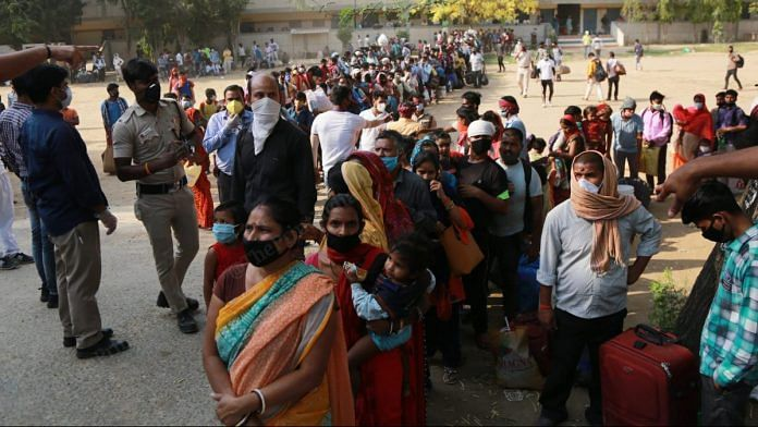 Thousands of people wait for their turn | Photo: Manisha Mondal | ThePrint