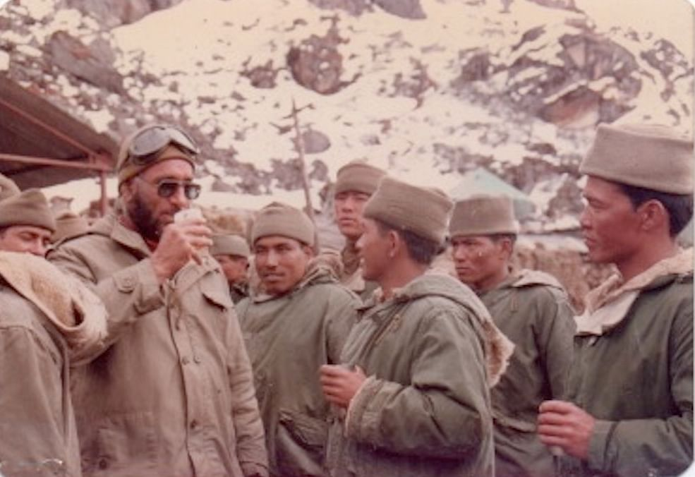 Major General J.M. Singh enjoying a hot cuppa with troops from 5 Mountain Division   Photo: Lt Gen J.M. Singh (Retd)