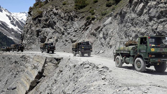 An army convoy moving towards the Zojilla pass, in Drass, Ladakh on 28 May 2020 | Representational image | ANI