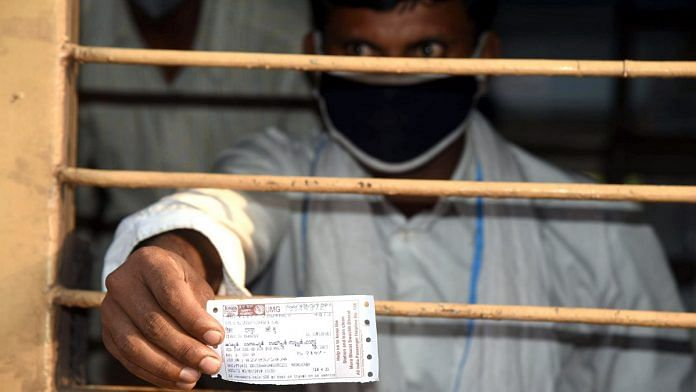 A migrant shows his special train ticket at Patna railway station in Bihar | Photo: ANI