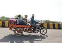Santosh Kumar and his family, along with Mr Tommy, on their way home to Bundelkhand | Manisha Mondal | ThePrint