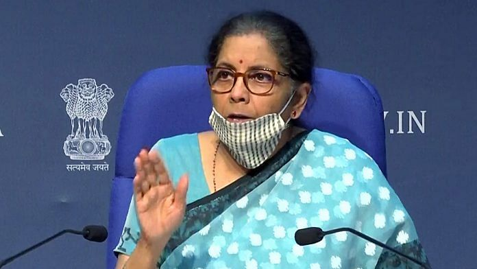 Finance Minister Nirmala Sitharaman announcing details of the Modi govt's Rs 20 lakh crore economic package Wednesday | Photo: ANI