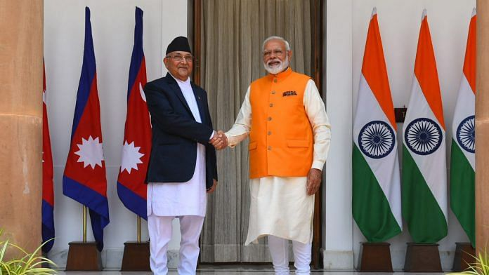 File image of Nepalese PM K.P. Sharma Oli with his Indian counterpart Narendra Modi | Photo: ANI