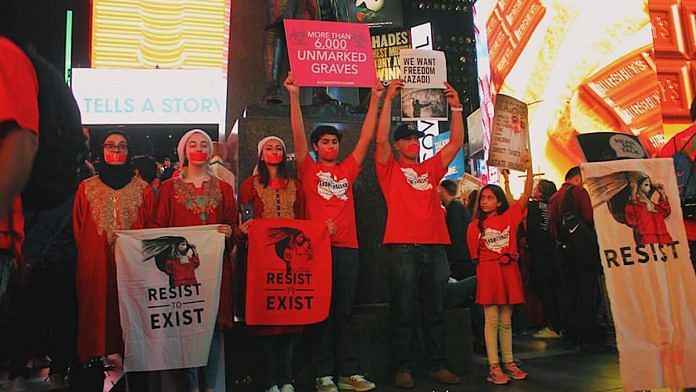 File photo |A protest by Stand With Kashmir in Times Square, New York | Facebook/StandWithKashmir