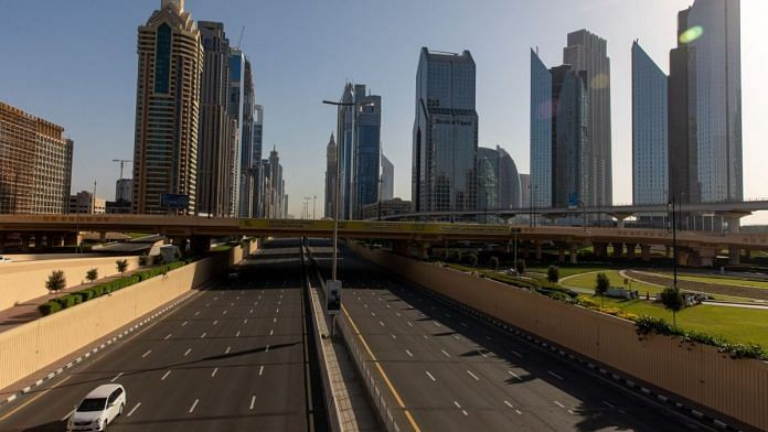 Empty Sheikh Zayed Road during lockdown in Dubai | Bloomberg