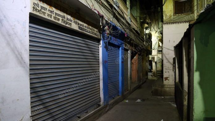 Representational image of shops shut during the Covid-19 lockdown in Varanasi | Photo: Suraj Singh Bisht | ThePrint
