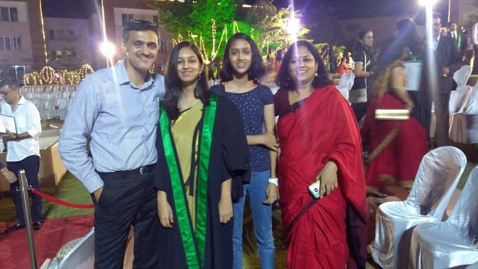 Ravi Venkatesham with his daughter Megha (beside him) during her school graduation last year | By special arrangement.