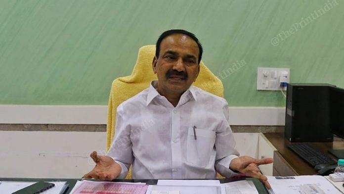 Telangana Health Minister Eatala Rajender at his office in Hyderabad | Photo: Suraj Singh Bisht | ThePrint