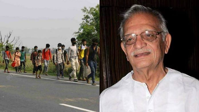 Lyricist and poet Gulzar has written on the exodus of migrant workers.   ThePrint