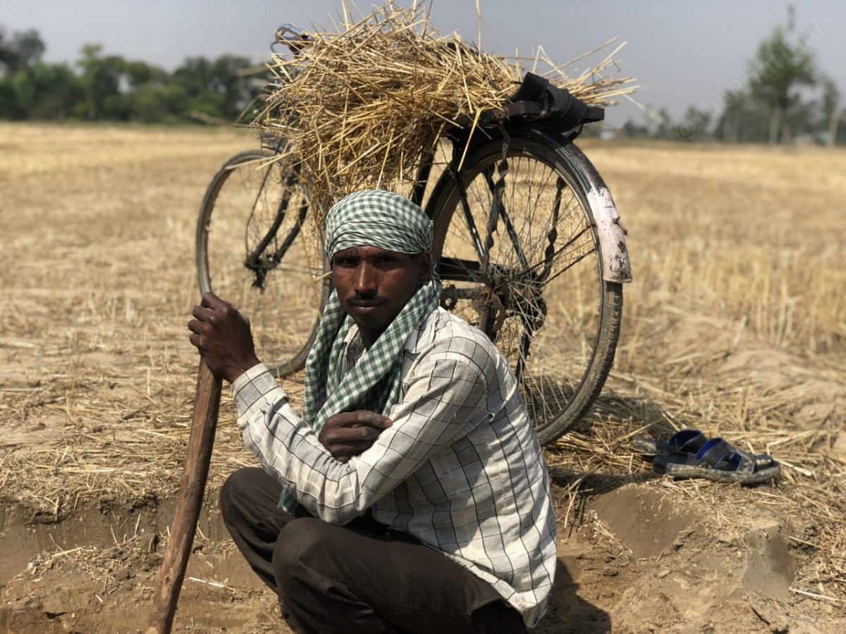 Ram kumar, 35 years old labourer from Bilpur village, says that hardships are the predominant factor in his life but the only thing that stays constant and never leaves his side is his cycle | Photo: Jyoti Yadav | ThePrint