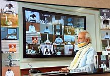 File image of PM Narendra Modi and state chief ministers speaking via video conferencing | Photo: ANI