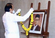 Maharashtra Deputy CM Ajit Pawar garlanding a portrait of VD Savarkar at Mantralaya Thursday. | Photo: Twitter/Ajit Pawar