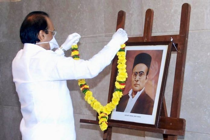 Maharashtra Deputy CM Ajit Pawar garlanding a portrait of VD Savarkar at Mantralaya Thursday. | Photo: Twitter/Ajit Pawar