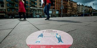 Representational image| A sticker of the healthcare services in Stockholm to instruct people to follow the 2 meters rule during Covid crisis | Jonathan Nackstrand | Getty Images via Bloomberg