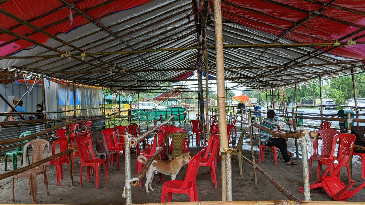 Empty chairs line the screening facility at the Assam-West Bengal border. The influx of the returnees has gone down sharply since May. At the peak of the influx, around 1800 migrants would pass through the interstate gate. | Photo: Yimkumla Longkumer | ThePrint