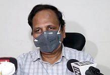 Delhi Health Minister Satyendra Jain speaks briefs media, in New Delhi on Wednesday. | ANI