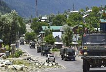 An Army convoy moves along the Srinagar-Leh National highway, in Ganderbal district of Central Kashmir, 17 June, 2020. | PTI