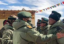 Army chief M.M. Naravane interacts with the troops while reviewing operational situations on the ground in Eastern Ladakh on 24 June