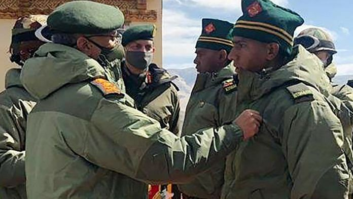 Army Chief General MM Naravane meets Army Chief commended troops as he visited forward areas in Eastern Ladakh and reviewed the operational situation on the ground on 24 June 2020 | ANI