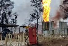 Fire flames continue to erupt from the gas well of Oil India Ltd at Baghjan in Tinsukia district