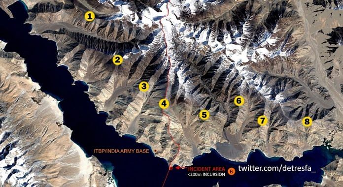 Pangong lake area and its eight fingers marked out, near LAC | Abhijit Iyer-Mitra | Twitter