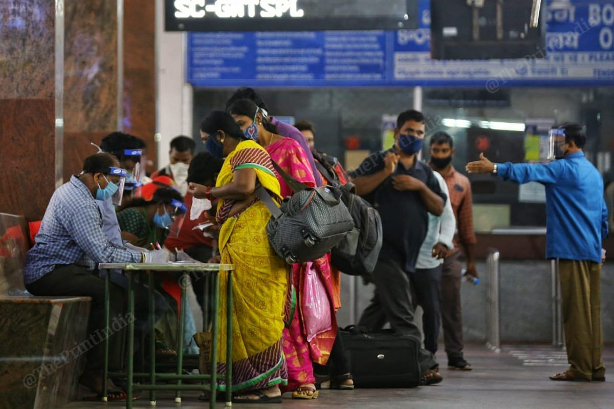 After reaching Vijayawada by train, people register for the swab test   Phpto: Suraj Singh Bisht   ThePrint
