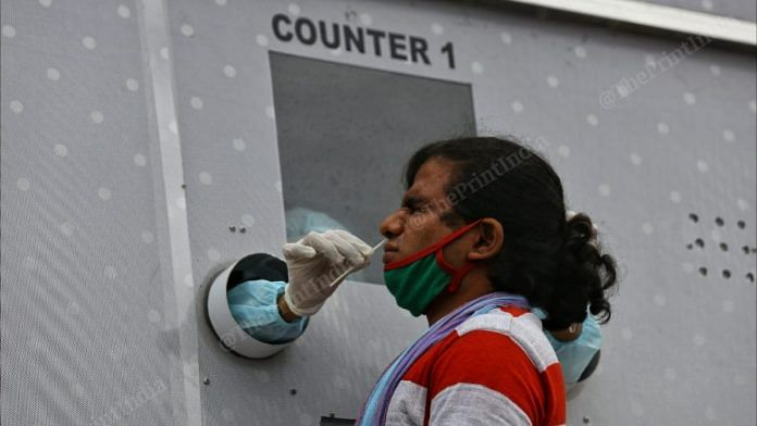 A Vijayawada resident is tested at one of the mobile testing facilities  Photo: Suraj Singh Bisht   ThePrint